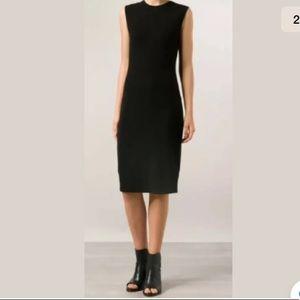 VINCE solid black ribbed pencil dress Midi size XS